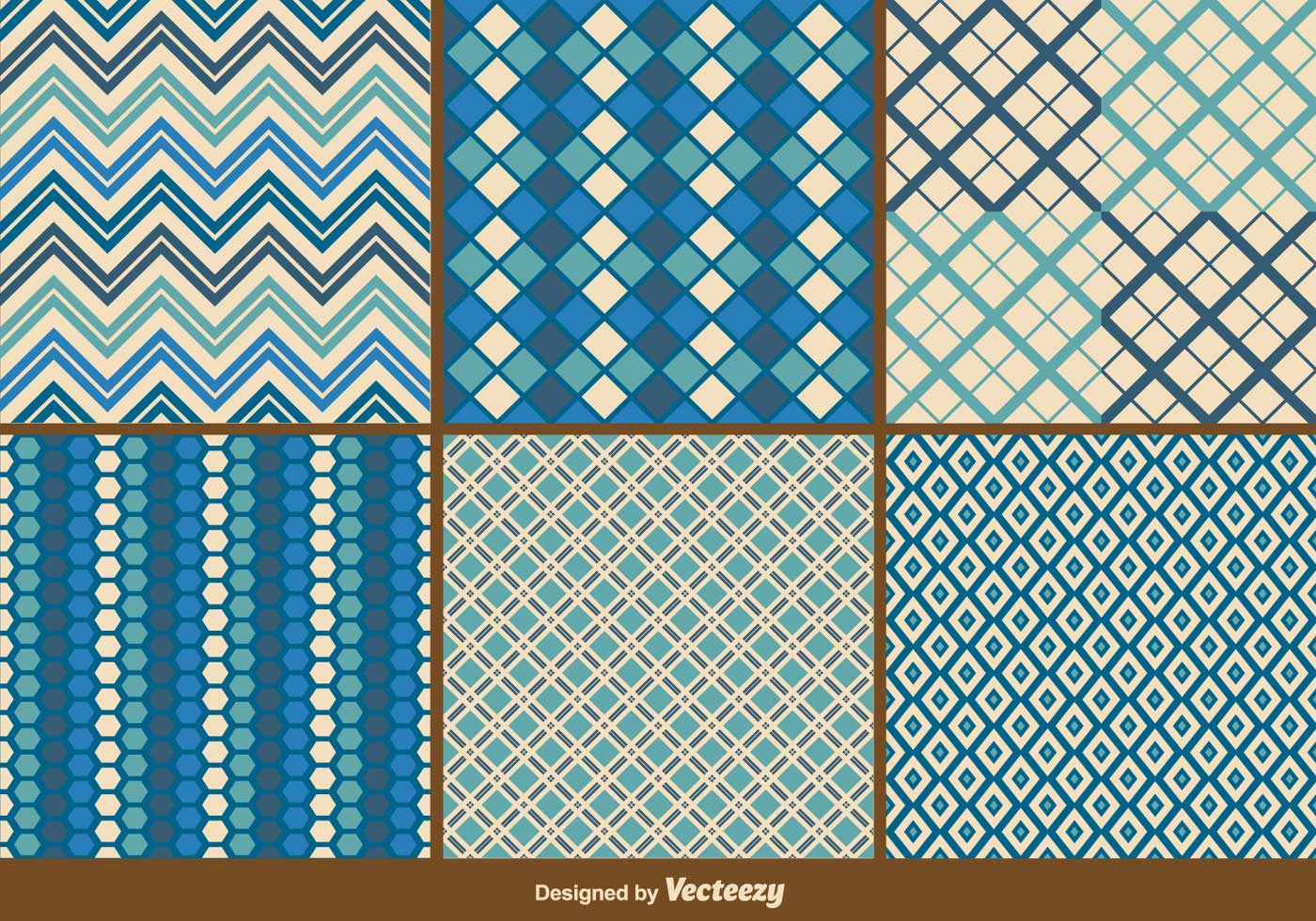 Blue Retro And Geometric Patterns Vector