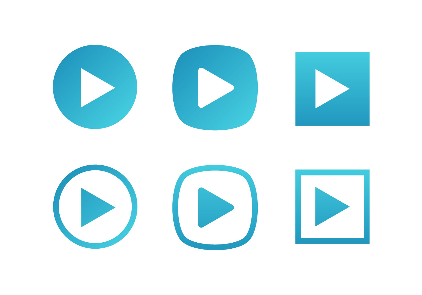 Blue Set Of Play Button Vector Icons Free - Download Free Vector Art, Stock Graphics & Images