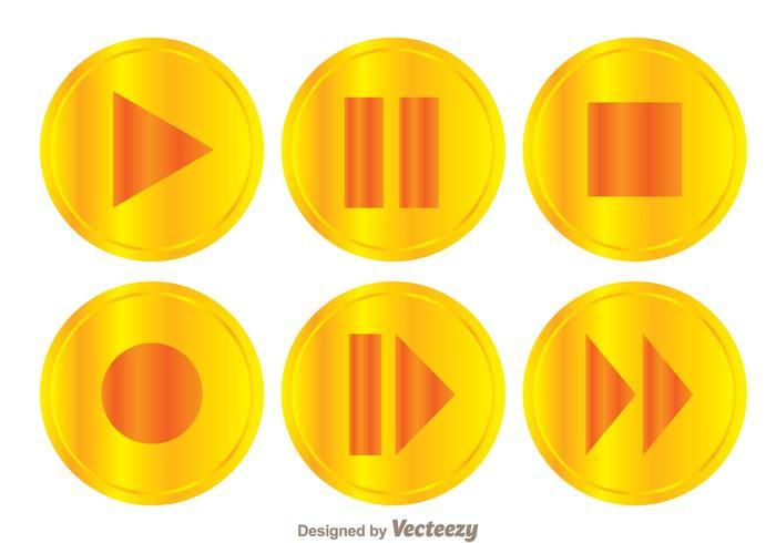 Conjunto de botões de jogo dourados vetor