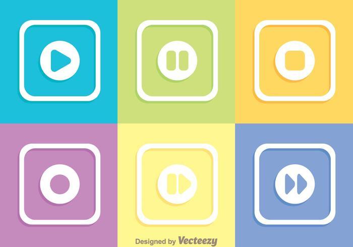 Boutons de médias carrés colorés