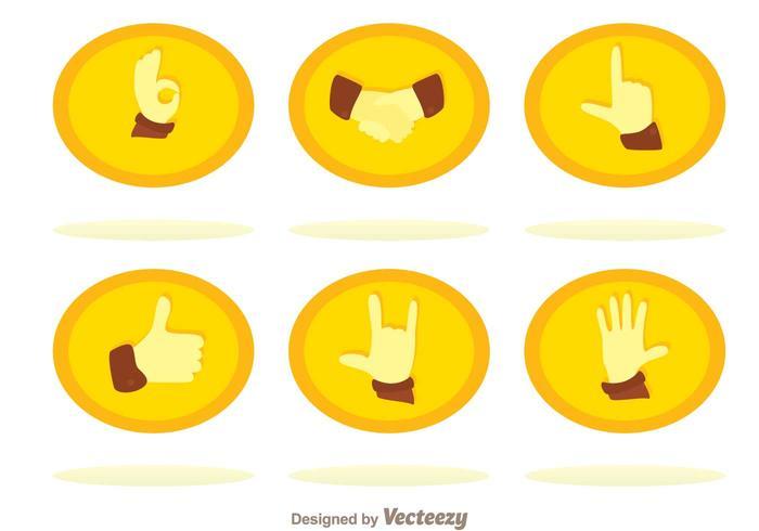 Flat Hand Icons Set