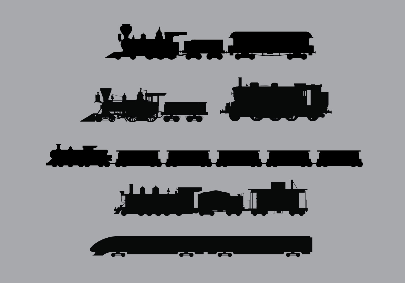 Train Vector Silhouettes - Download Free Vector Art, Stock ...