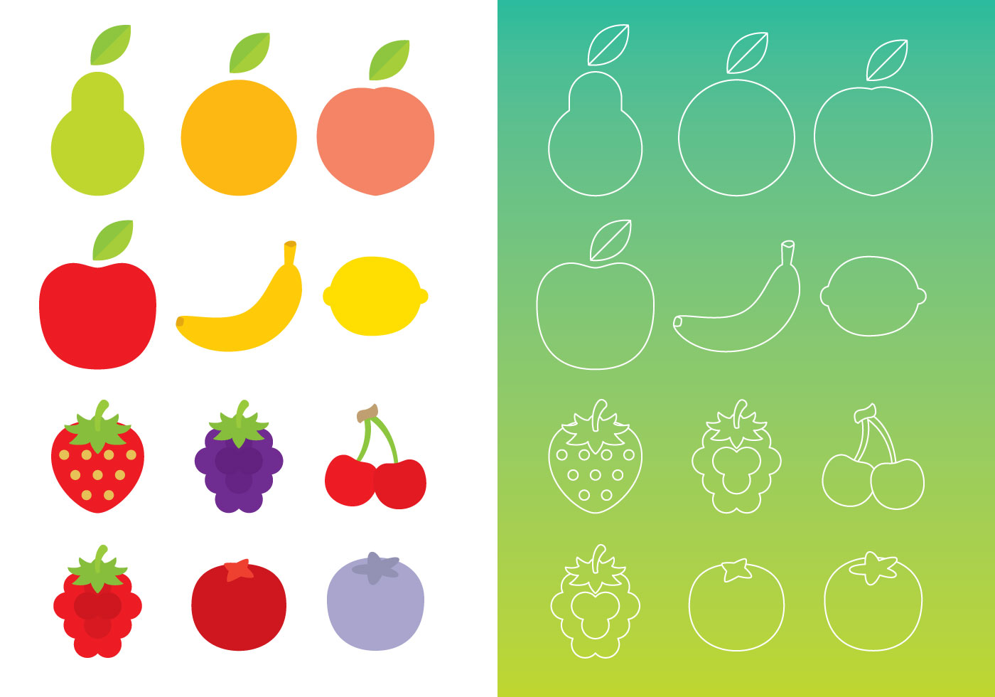 flat and thin line fruits download free vector art