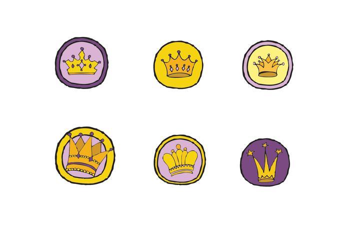 Série livre do vetor do logotipo da coroa