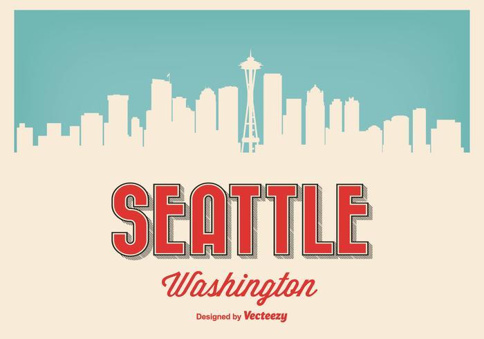 Ilustración retro de Seattle Washington