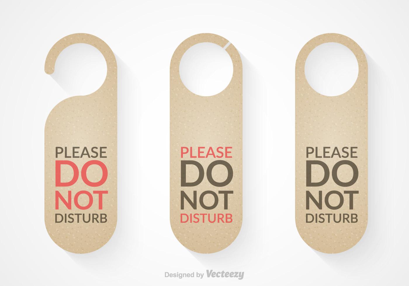 Free do not disturb door hanger vector set download free for Free do not disturb door hanger template