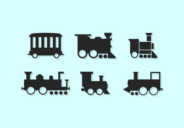 Cute Train Vector Icones Silhouettes Free