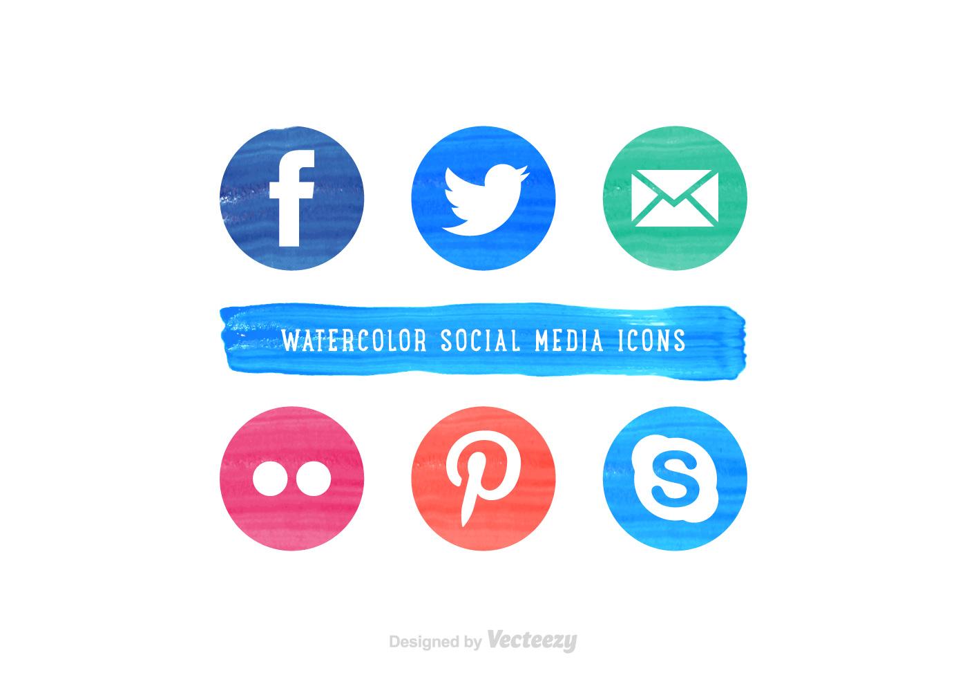 free social media watercolor vector icons download free Web Icon Vector Web Icon Vector