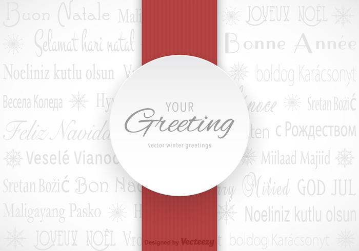 Free Multilingual Winter Greetings Vector Card