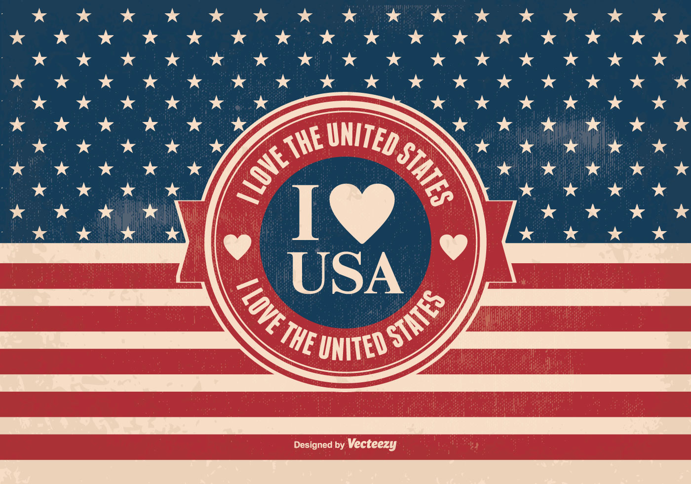 Star background vector download free vector art stock graphics - I Love The Usa Vintage Style Illustration Download Free