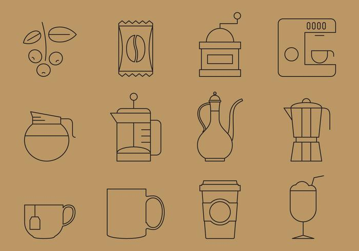 Thin Line Coffee Icons vector