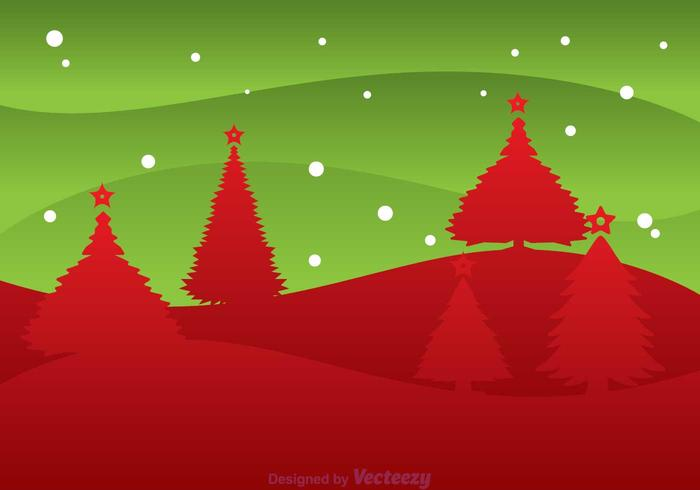 Christmas Tree Silhouette Landscape