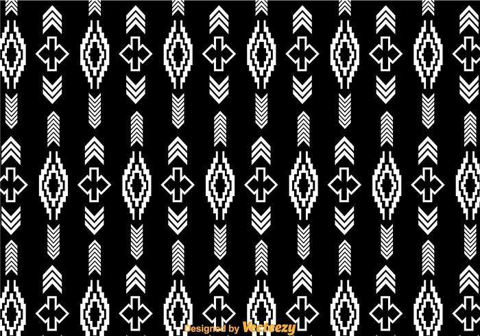 White Aztec Pattern On Black