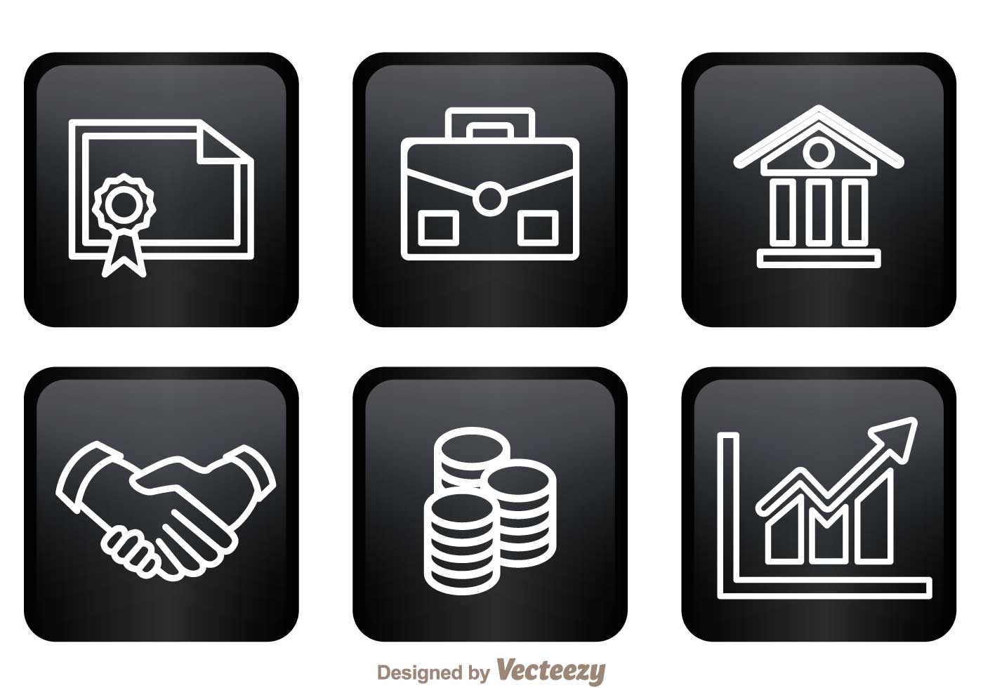 Bank Icons On Black Squares - Download Free Vector Art ...