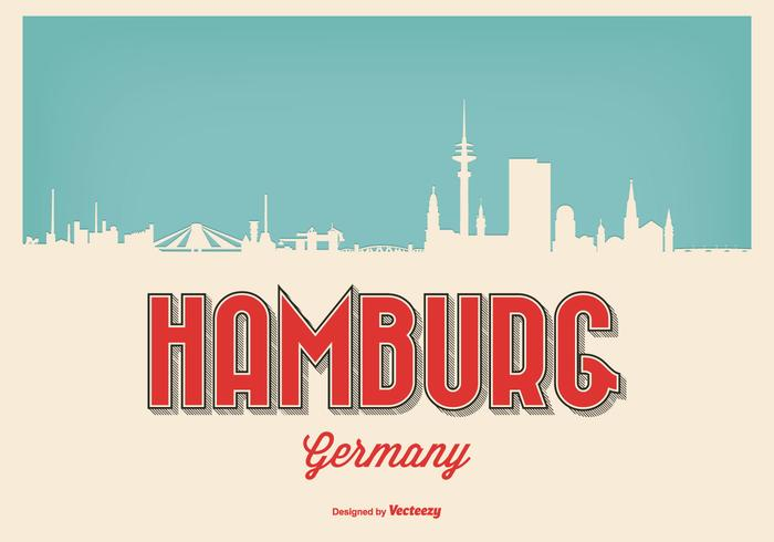 Vintage Retro Style Hamburg Skyline Illlustration