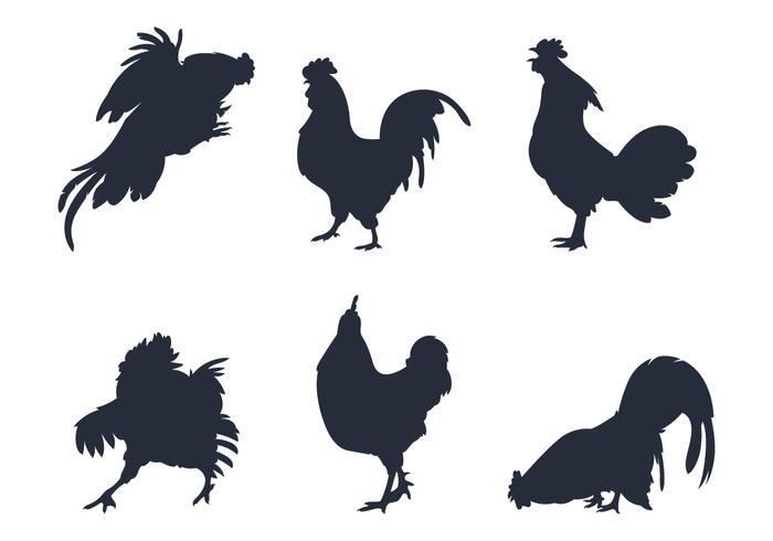 Vecteurs de silhouette de poule vecteur