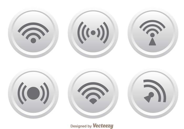 White Button Wifi Logo Vectors