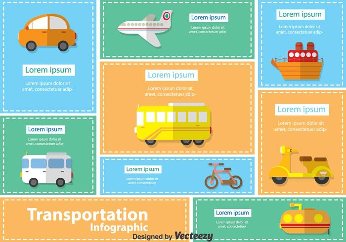 Transportation Table Infographic Vectors