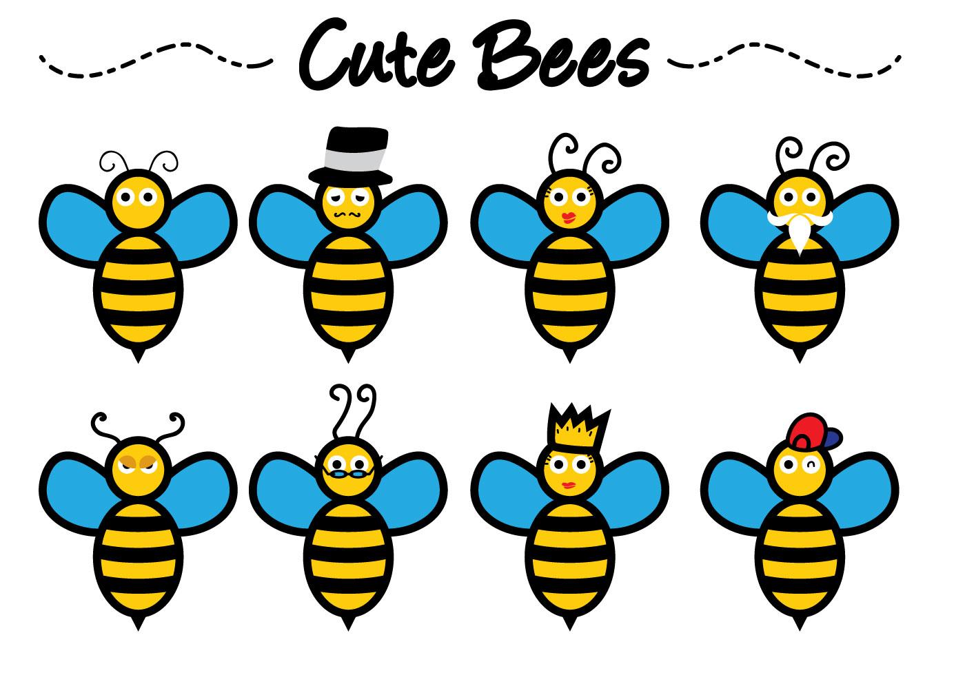 Cute Bee Vectors - Download Free Vectors, Clipart Graphics ...