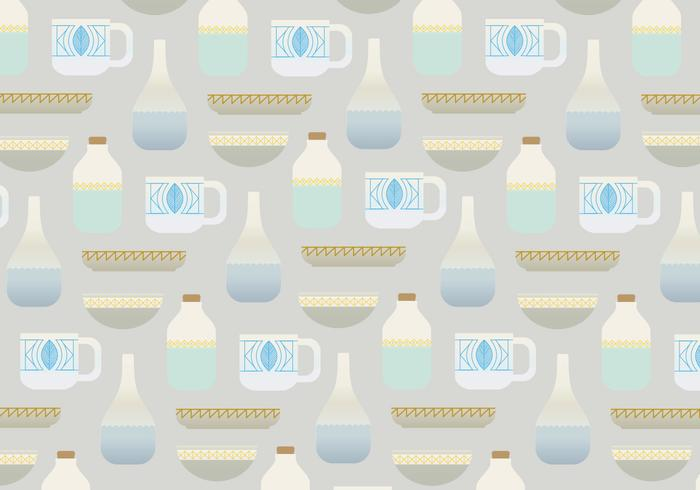 Pots and cups vector pattern