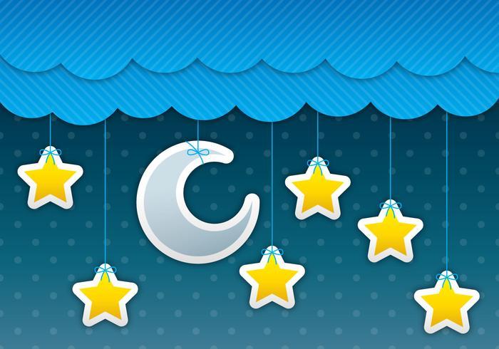 Lune et étoiles Ciel vecteur
