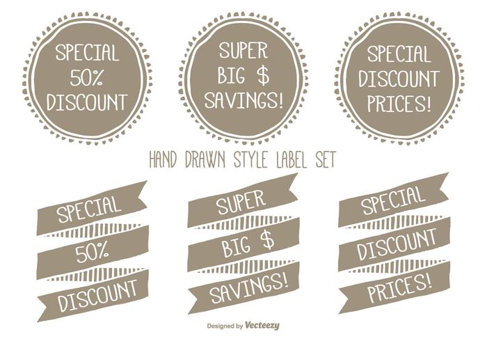 Hand Drawn Style Discount Label Set