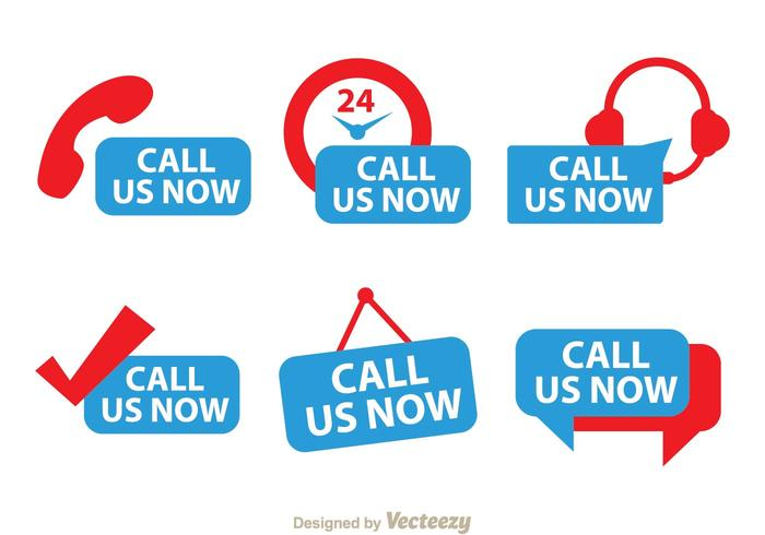 Call Us Now Red And Blue Icons