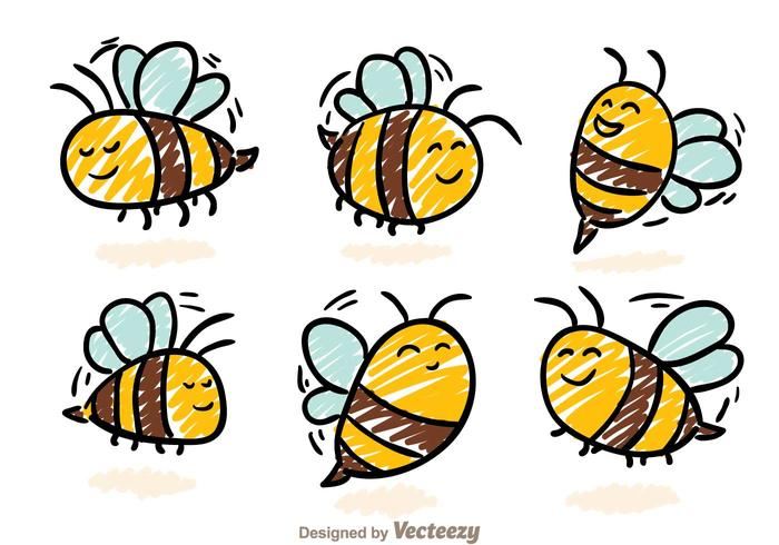 Cute Bee Hand Drawn Icon Vectors