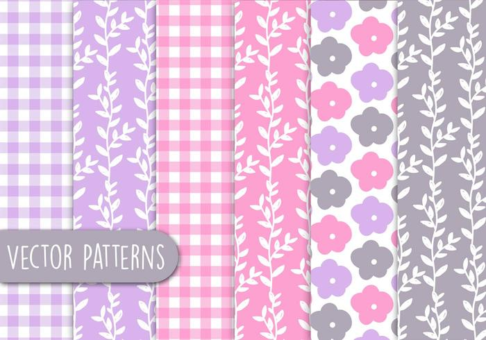 Conjunto de padrões florais românticos