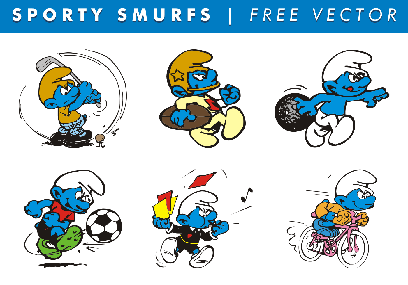 sporty smurfs free vector download free vector art  stock graphics   images smurf clipart pictures smurf clip art free