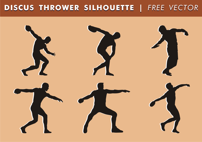 Disque Thrower Silhouettes Free Vector