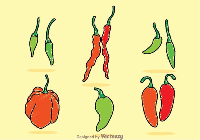 Chili Pepper Sketchy Vectors