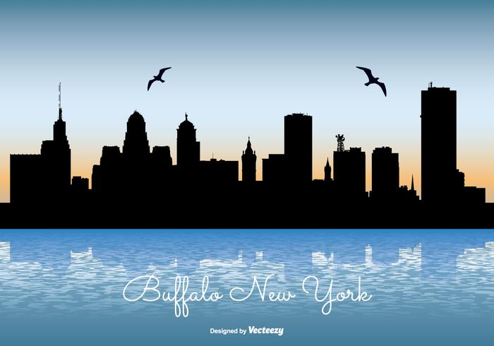 buffalo new york skyline illustration download free vector art