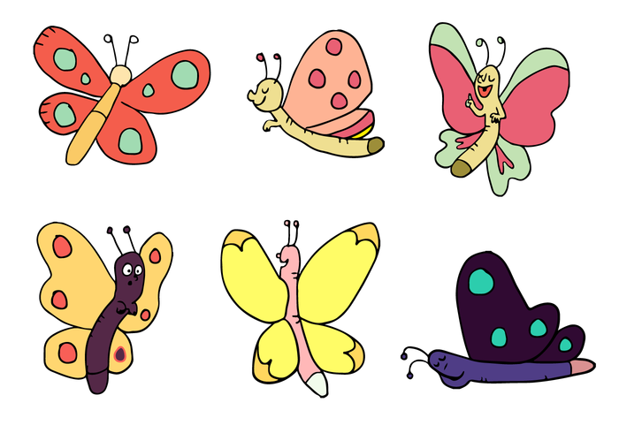Cartoon Butterfly Vector Set