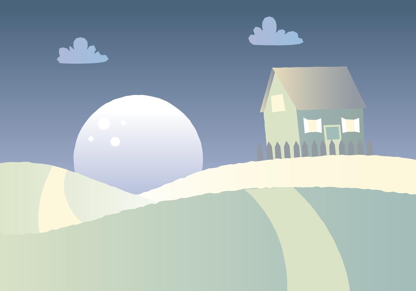 Night Time Cartoon Landscape Download Free Vector Art
