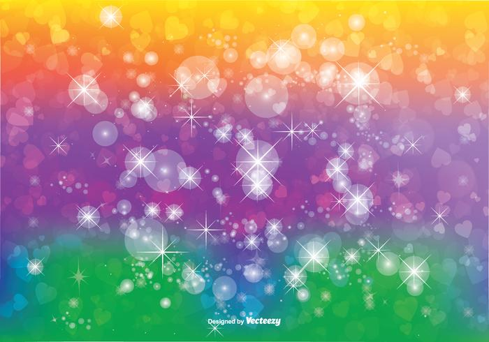 Bokeh with Glitter and Hearts Background Illustration