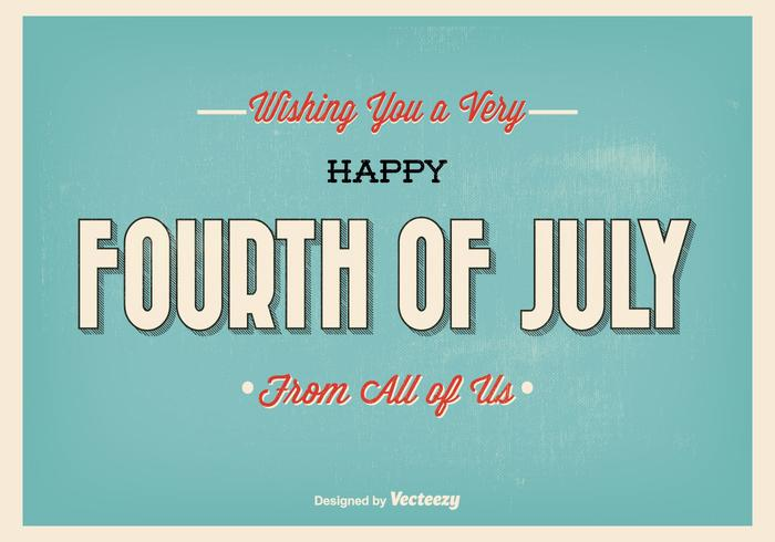 Retro Style Typographic Fourth of July Illustration
