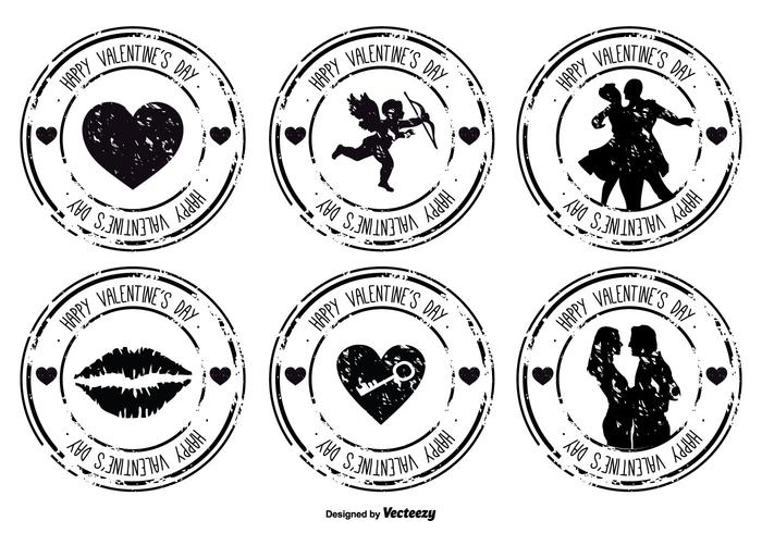 Distressed Valentine's Day Rubber Stamp Set