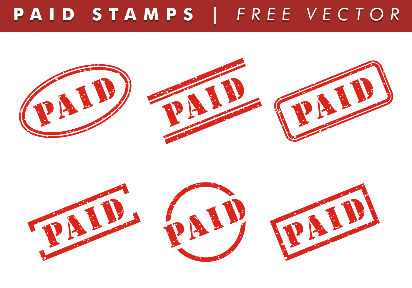 94568 Paid Stamps Free Vector on Shapes Rubber Stamp