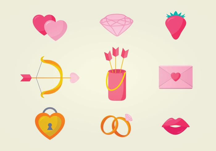Icônes de vecteur romantique