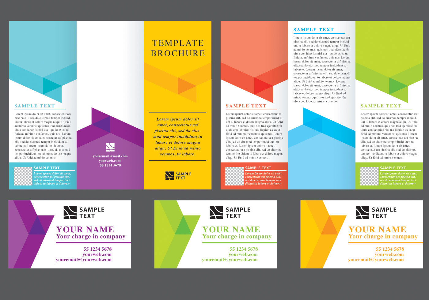 Chevron fold brochure vectors download free vector art for Brochure template