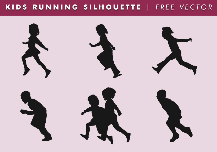 Niños corriendo silueta vector libre