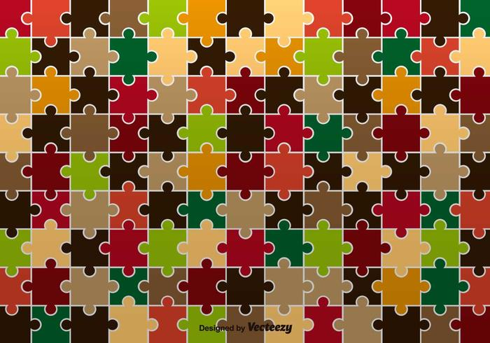 Autumnal Jigsaw Pattern Vector