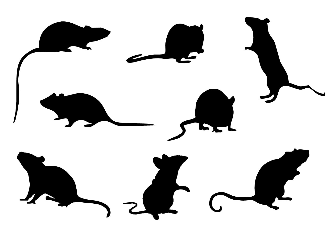free mice silhouette vector - download free vector art, stock