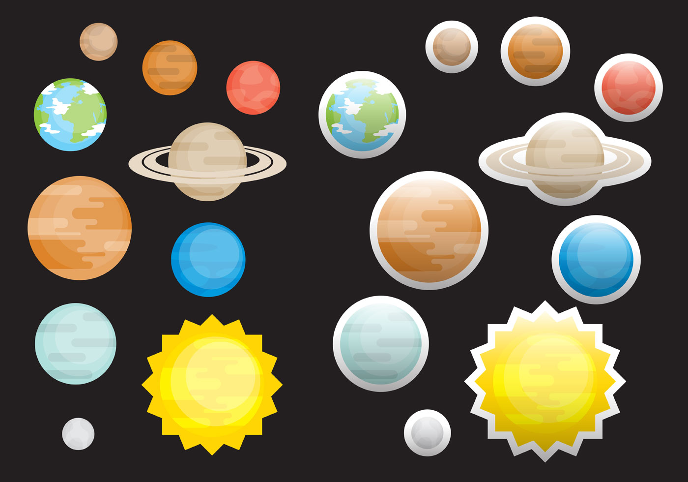 Flat Planet Vectors - Download Free Vector Art, Stock ...