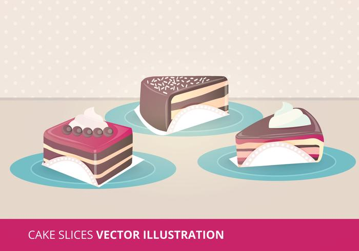 Cake Skivor Vektor Illustrationer