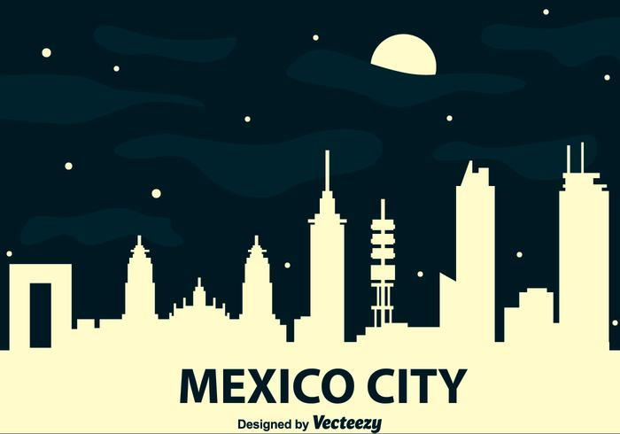 Mexico City Skyline At Night Vector