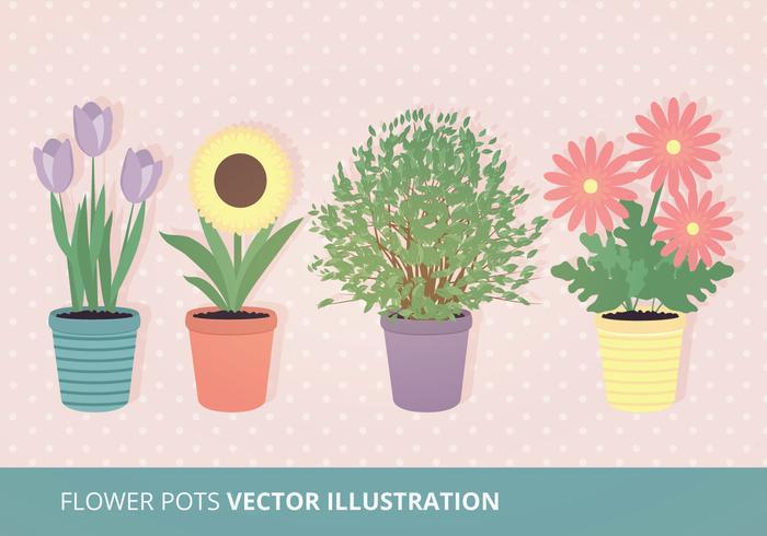 Flower Pots Vector Illustration