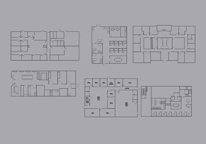Office Floor Plan Vector Pack