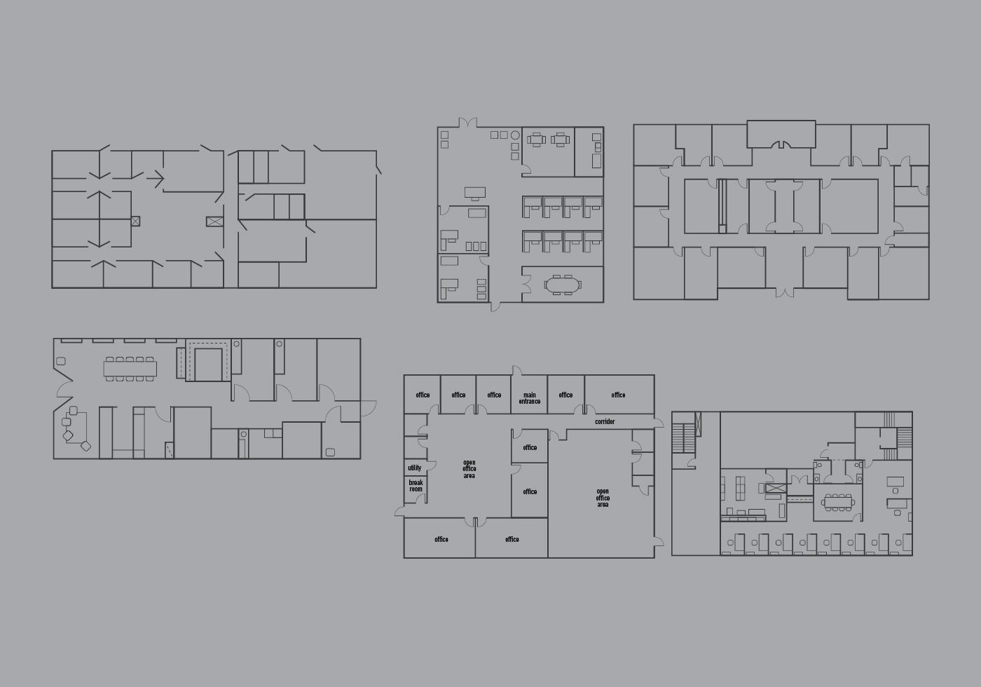 Office Floor Plan Vector Pack Download Free Vector Art